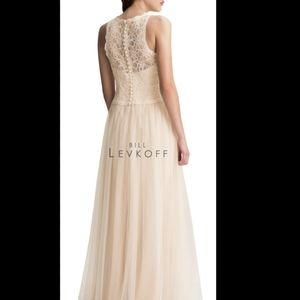 Bill Levkoff Bridesmaids Tulle Corded Lace Dress